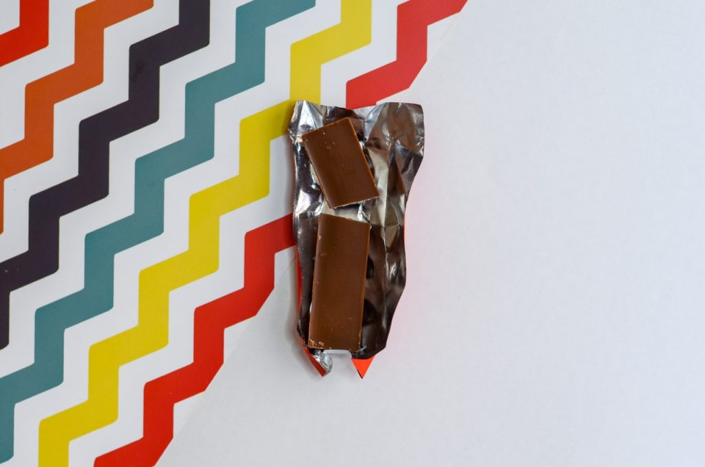 chocolate bar and wrapper